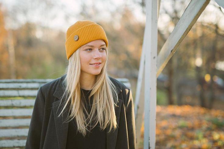 TImberjack Beanie Autumn Gold. 100% bluesign certified merino wool, made in Finland #vaikoclothing #merino #wool #beanie #bluesign #sustainable #fashion