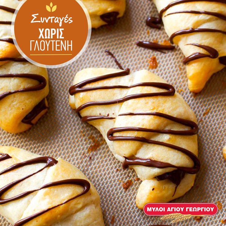 Τα κρουασάν με σοκολάτα είναι πραγματικά παραδεισένια. Πόσο μάλλον όταν είναι χωρίς γλουτένη, και σε Mini έκδοση ώστε να μοιράζονται πιο εύκολα! #myloiagiougeorgiou #glutenfree #recipes #croissant