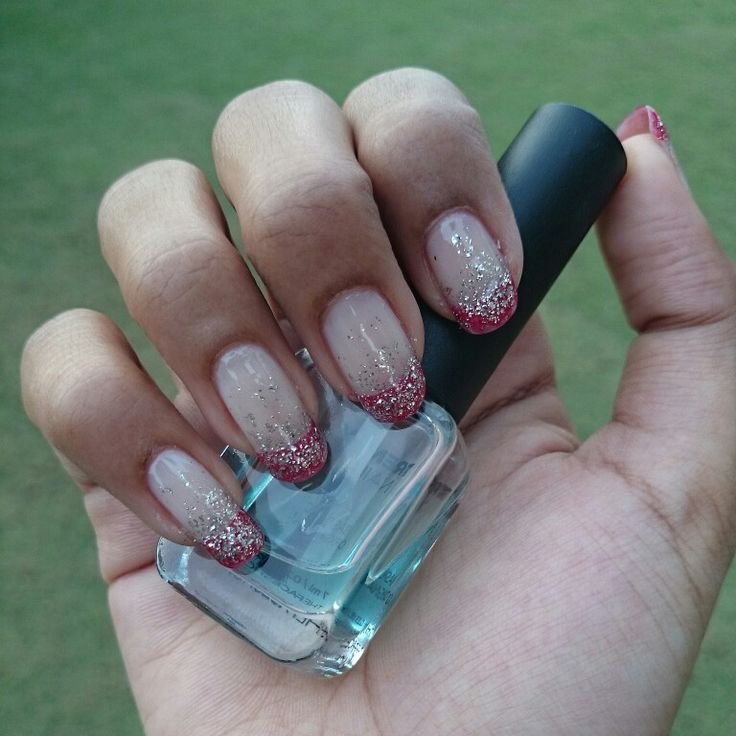 Red french tip + glitter ombre nails