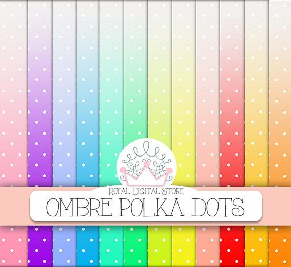 "Ombre digital paper: ""OMBRE POLKA DOTS"" with ombre polka dots background, dip dye rainbow watercolor for invitations, cards, scrapbooking"