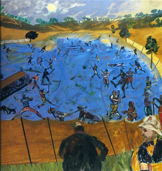 America (Baseball) by R. B. Kitaj. Pop Art. genre painting