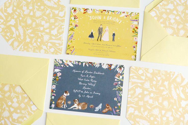 livi gosling illustrated briony jon custom illustrated invitations by @jollyedition