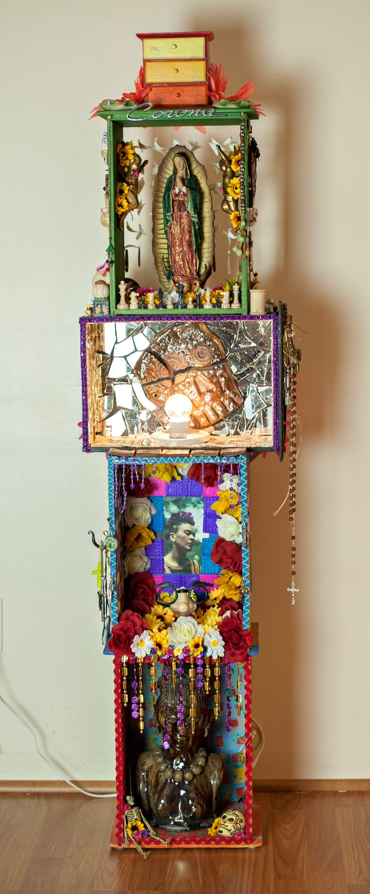Altar of Feminine Mystery dedicated to the blessed mother and all women everywhere. collage, mixed media art. Casney Tadeo Fine Art