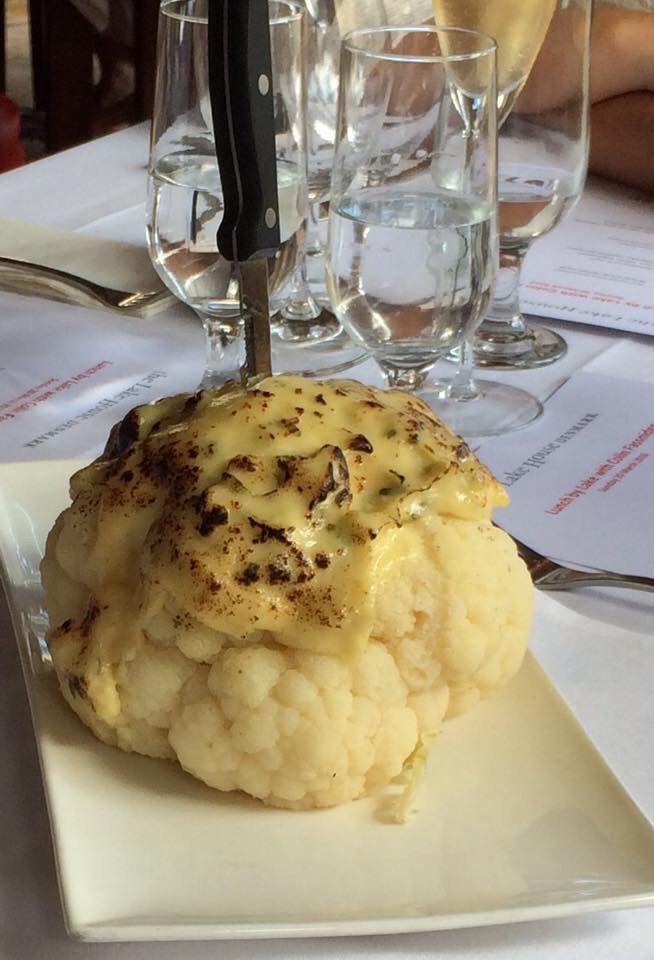 Whole roasted cauliflower with bechamel sauce