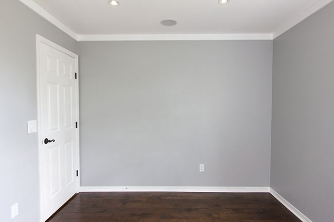 After much consideration, the new Fitting Lounge wall color: Valspar's Mark Twain House Ombra Gray in eggshell