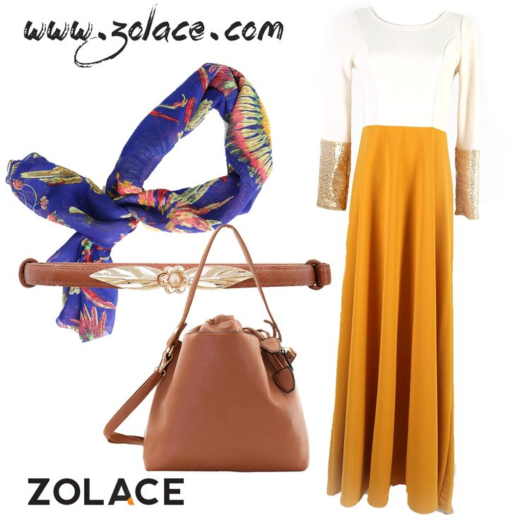 All are available from Zolace Malaysia  Sunburst Chiffon #TudungBawal in Cobalt Blue (RM25), Gotta Glimmer #Jubah in Mustard (RM89), Any Day Any Time Bucket Shoulder #Bag in Chocolate (RM89), Leaf in the Moment #Belt in Brown (RM29)