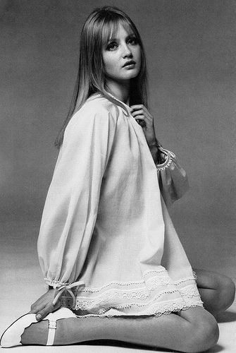 Ingrid Boulting in a layered trapeze smock by Gina Fratini, photo by Clive Arrowsmith, May 1968