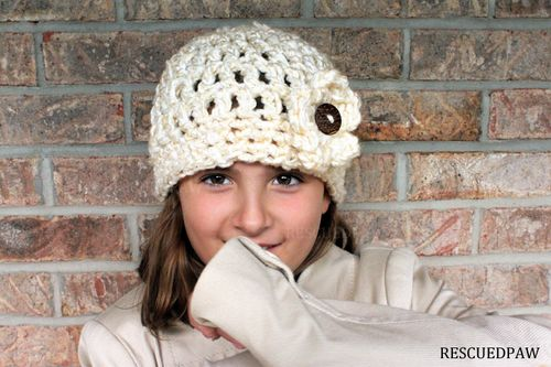 Free Crochet Chunky Flower Button Hat Pattern :: Rescued Paw Designs