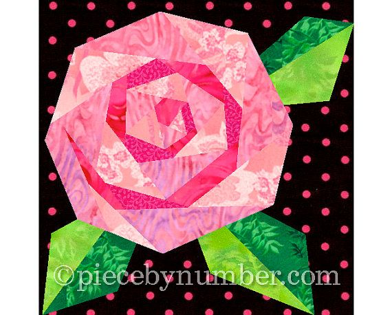 Rosies Rose paper pieced quilt block pattern INSTANT DOWNLOAD PDF