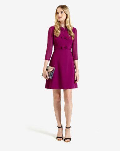 Bow detail shift dress - Pale Purple   Dresses   Ted Baker