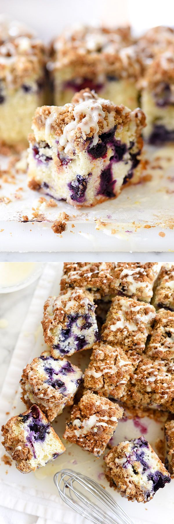 Is it breakfast or dessert? Makes no diff because it's Blueberry Buckle With Lemon Glaze | foodiecrush.com