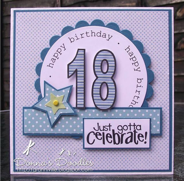 handmade birthday card ... blues ... die cut 18 ... montage ... sentiment on inside circle repeats as a border design ... great card!