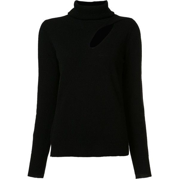 A.L.C. cut-off detailing turtleneck jumper found on Polyvore featuring tops, sweaters, black, turtle neck sweater, jumper top, turtleneck jumper, polo neck jumper and a l c sweater