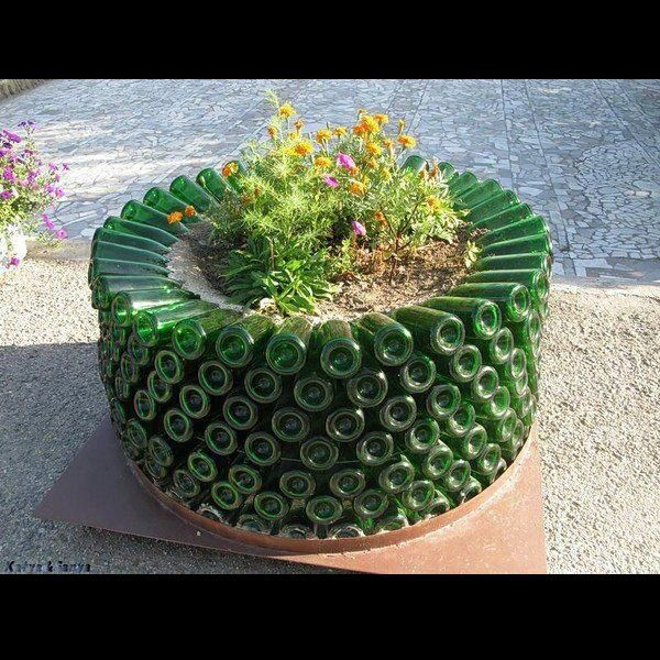 Planter from recycled bottles.