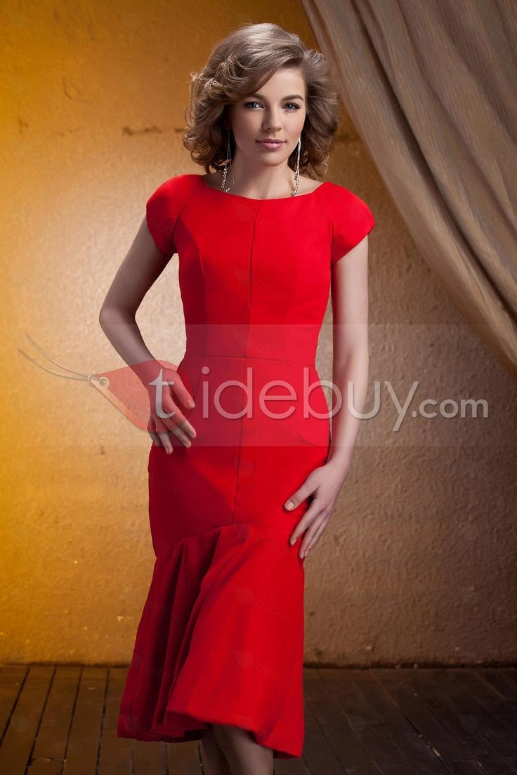 Maravilloso Vestido para Madre de la Novia Tipo Vaina/Columna Hasta la Rodilla Manga Corto Escote Redondo (Envío Gratuito)