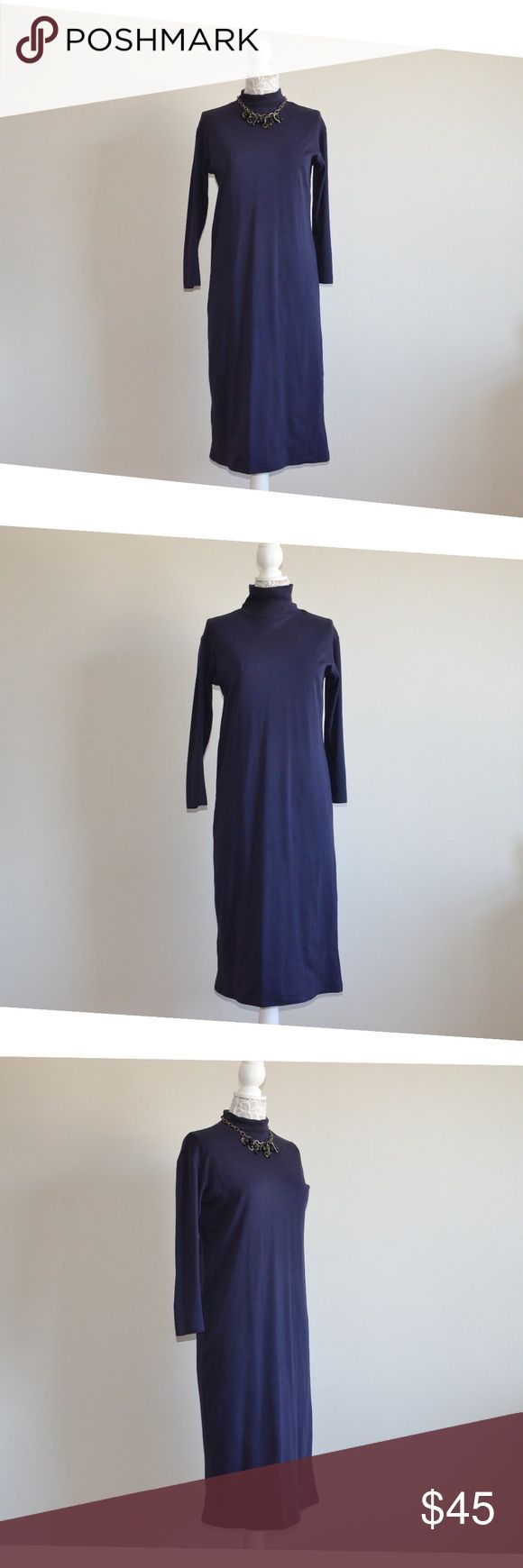 "Lands' End Turtle Neck Navy Blue Midi Dress Navy Blue Midi Dress by Lands' End  Excellent condition.  Length approx. 46"" Wide (underarms) approx. 19""  Size: Regular XS Fabric: 100% Cotton Made in USA  RN 62830 910 21966  Color: Navy Blue Turtle neck No lining  Tags: Lands End, LandsEnd, Lands' End Dresses Midi"