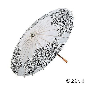 Apparently Parasols are a Southern Tradition for weddings! Black & White Wedding Parasol: $8 @ Oriental Trading Weddings