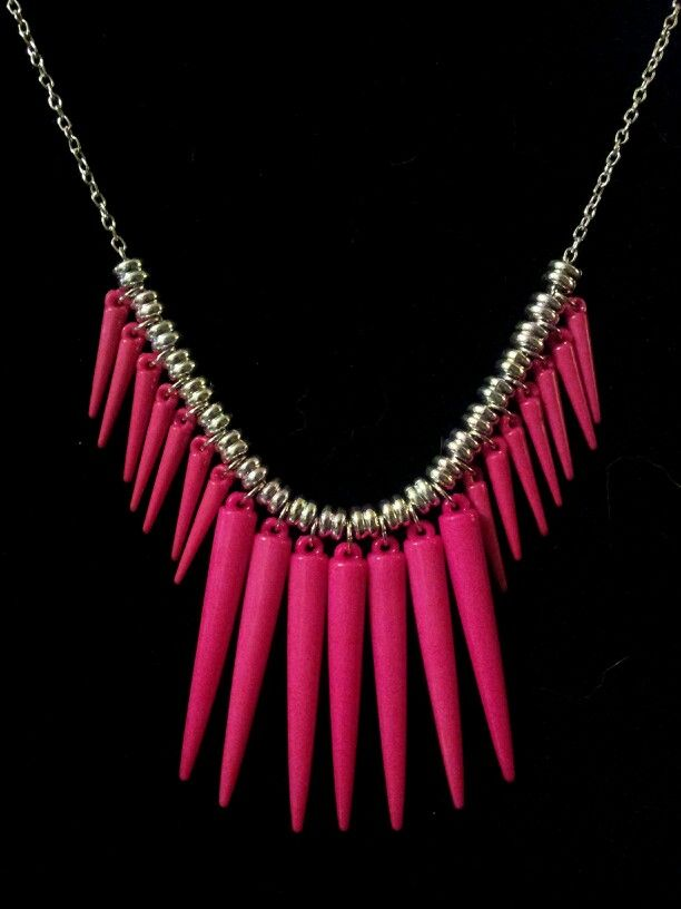 Pink Acrylic Spike Statement Necklace on Silver Chain - $15 [OOAK] (Link available soon)