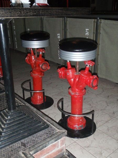 A Firefighter Man Cave Must: Fire Hydrant Bar Stools   Shared by LION