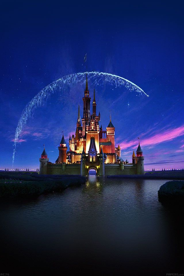 FREEIOS7 | ac76-wallpaper-disney-castle-artwork-illust-sky - parallax HD iPhone iPad wallpaper