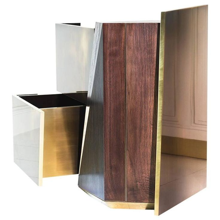 MMXVIGC Dual Drawer Brass and Walnut Nightstand Console or Side Table | From a unique collection of antique and modern side tables at https://www.1stdibs.com/furniture/tables/side-tables/
