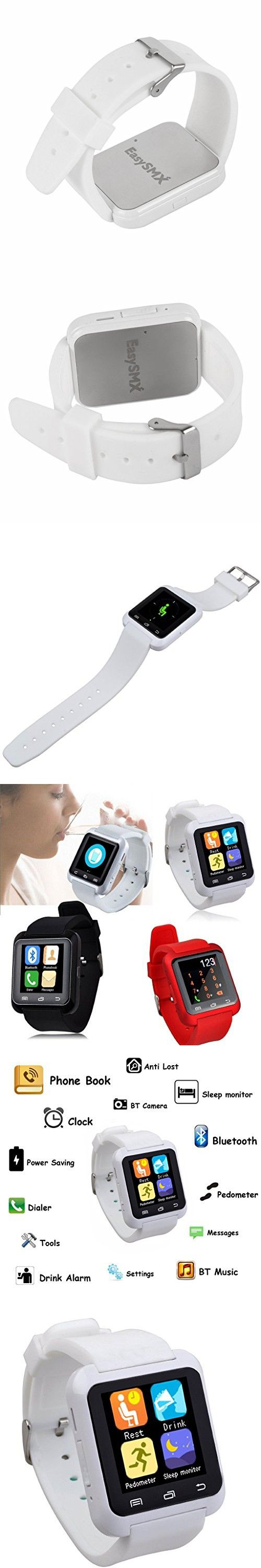 [Christmas New Year Gift] EasySMX Touch Screen Bluetooth 4.0 Smart Watch for Android Smartphones Handsfree Sync Call Message Pedometer Fitness Tracker Sleep Monitor (White)