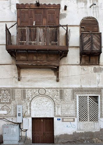 Similar to My grandfather shutters...love love the design the gypsum work below ..memories .. Old house in Jeddah - Saudi Arabia