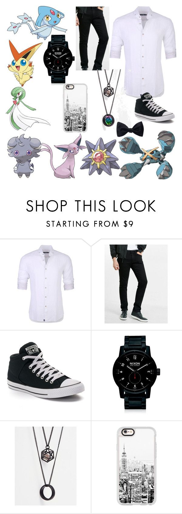 """Psych Pokemon"" by carmen-41-navarro ❤ liked on Polyvore featuring Stone Rose, Express, Converse, Nixon, ASOS, Casetify, Ike Behar, men's fashion and menswear"