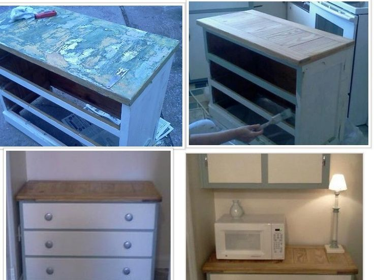 Dresser With Several Coats Of Paint Turned Into Microwave Stand Plus Lots  Of Extra Storage Space