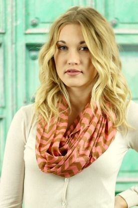 Coral and Camel Chevron  Infinity Scarf