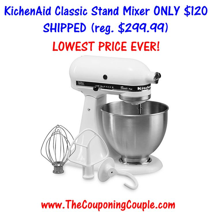 ***BEST PRICE EVER ~ HURRY BEFORE IT'S GONE*** KitchenAid Classic Stand Mixer ONLY $120 Shipped (was $299.99)!  Click the link below to find out how to get it ► http://www.thecouponingcouple.com/kitchenaid-classic-stand-mixer/  #Coupons #Couponing #CouponCommunity  Visit us at http://www.thecouponingcouple.com for more great posts!