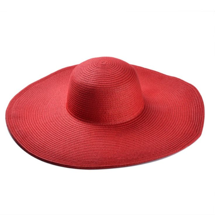Women's Straw Wide Large Brim Roll-up Foldable Bohemia Summer Beach Sun Hat Cap (Red)