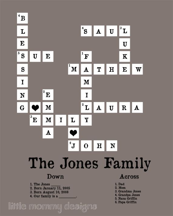 Modern Family Tree,  Art for Nursery, Crossword Puzzle Art, Wedding Gift, Custom, Personalized, 8x10 print. $35.00, via Etsy.