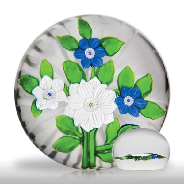Rare and exceptional antique Baccarat blue and white flat bouquet paperweight.(3) images