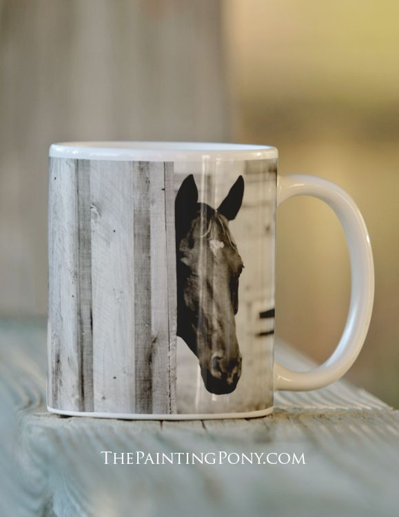 equestrian coffee mugs - Curious Black Horse Mug - The Painting Pony - fun gift for the horse lover or anyone who loves ponies, horses, and horseback riding.