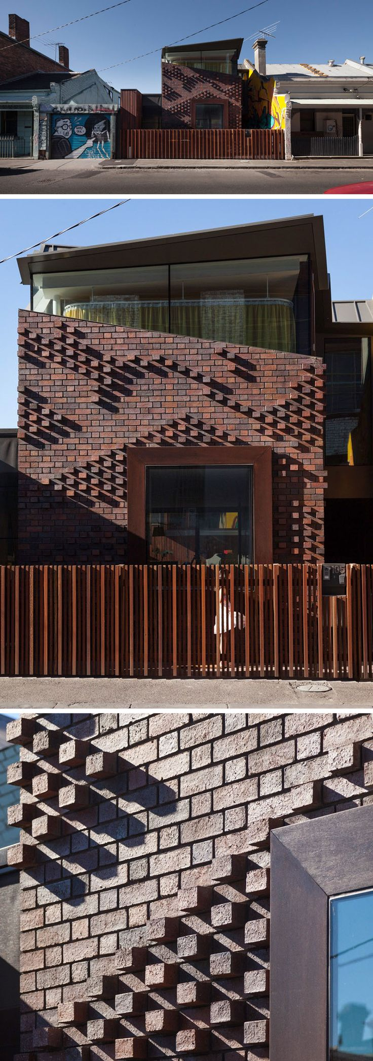 14 Modern Houses Made Of Brick // A unique arrangement of bricks on this house give it a unique texture and pattern that changes throughout the day depending on how the sun casts shadows on the protruding bricks.
