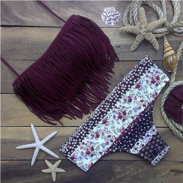 pinterest: @jaidyngrace Purple Fringe Bandeau Floral Bikini