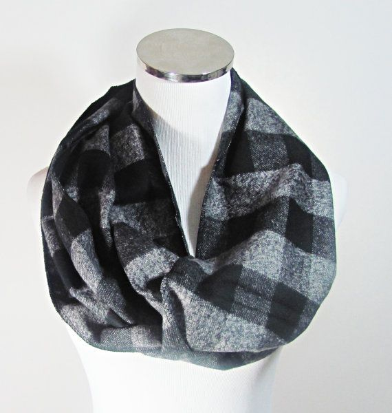 Gray Infinity Scarf Gray Plaid Scarf Plaid Infinity by ScarfTempo