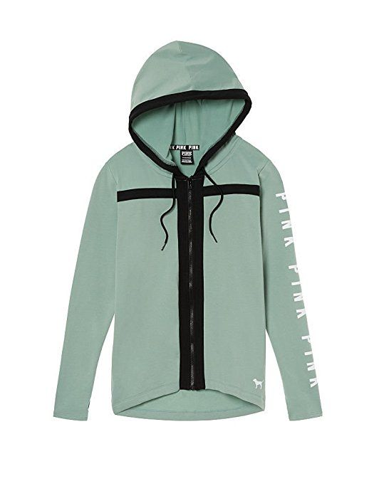 b401ad5ad Victoria's Secret PINK High/Low Full-Zip Hoodie, Seasalt Green, Large at  Amazon Women's Clothing store: