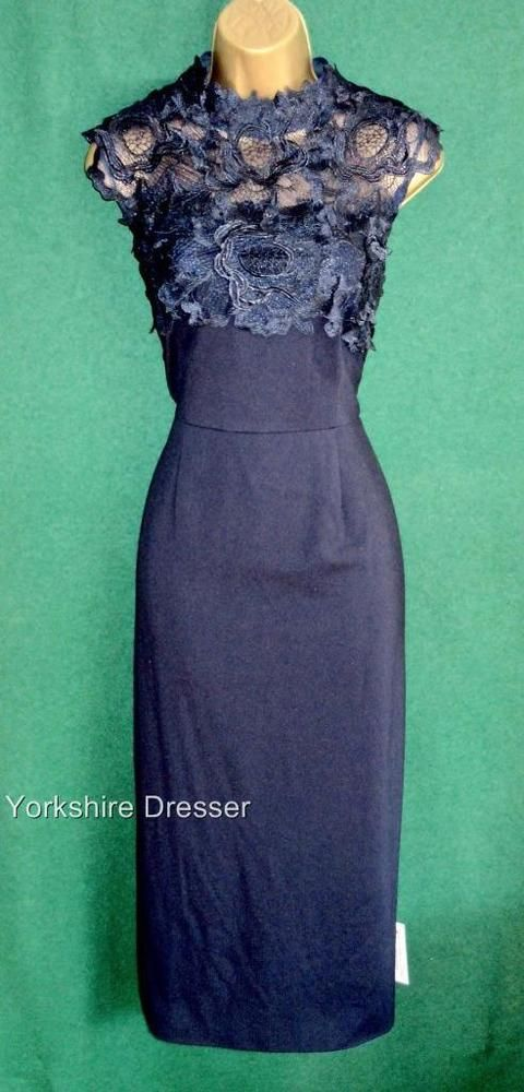 New MONSOON Navy Blue Lace CEILIDH Stretch Evening Cocktail Midi Dress -Uk 14 22