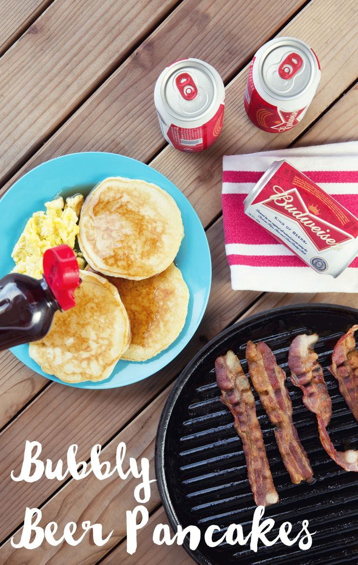 Bubbly Beer Pancakes Recipe - Great for a morning after campingi! Hearty and delicious. These are super simple, and all you need is 2 cups of baking mix (like Bisquick), 1 cup of beer, and 2 eggs. Mix together and heat on a greased skillet, over a camping stove, or a cast iron skillet, over a campfire