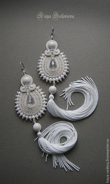 Серьги свадебные (сутажная вышивка) от Каи Соловьевой. Handmade.