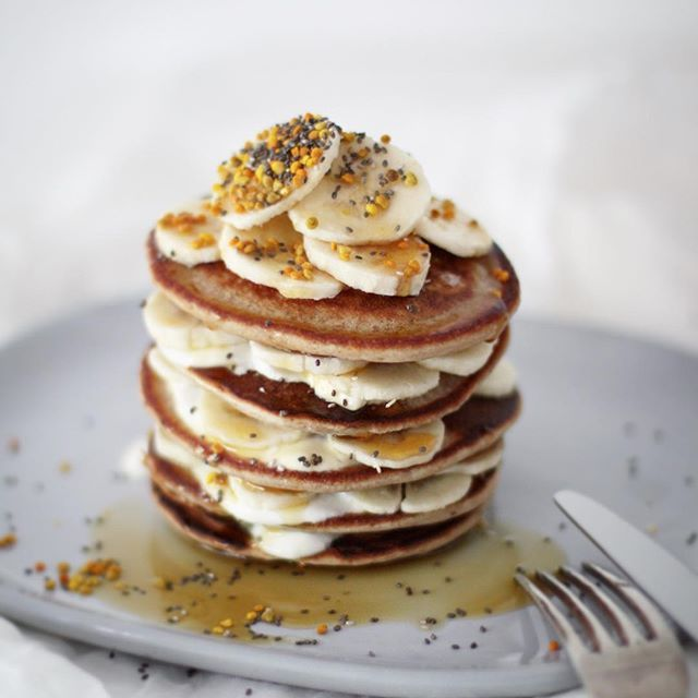 Gluten free buckwheat and banana pancakes with maple syrup. www.firstfruittable.com