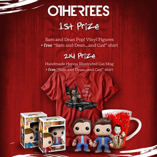 We have cool prizes to give away which should make every #SPN fan really happy ! By entering this OtherTees contest you're in the running to win one of two awesome prize packs !   ENTER HERE -> http://www.othertees.com/contests/8/sam-and-deanand-cas-contest   Winners will be chosen on 12th April.