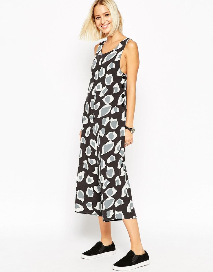 Image 1 of ASOS Button Side Jumpsuit in Animal Print