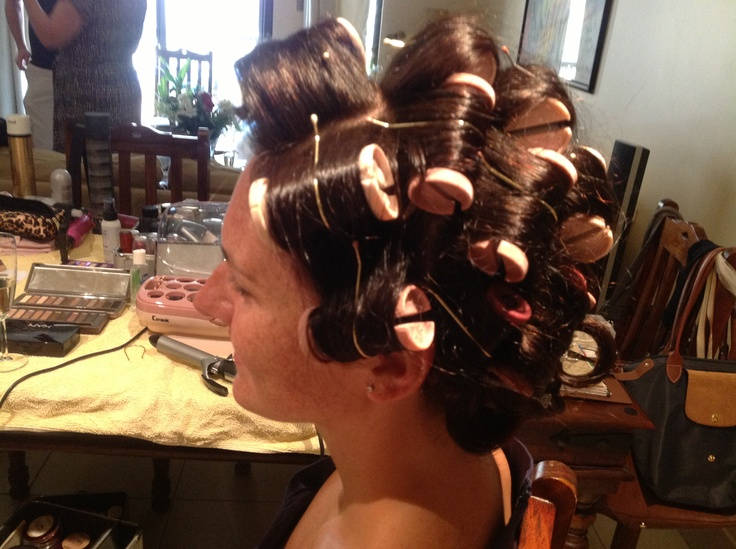 Pink Babyliss heated rollers.... Perfect prep for bridal curls
