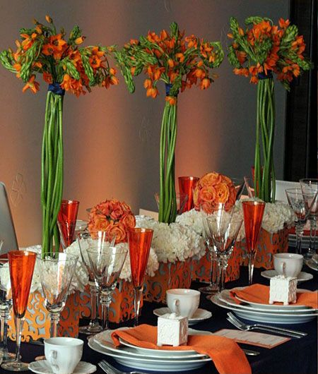 orange reception wedding flowers,  wedding decor, wedding flower centerpiece, wedding flower arrangement, add pic source on comment and we will update it. www.myfloweraffair.com can create this beautiful wedding flower look.