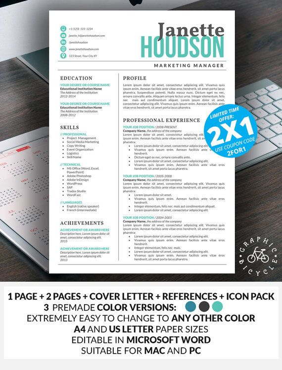 Teacher Resume Template Word - Professional Resume Template for - professional resume template word
