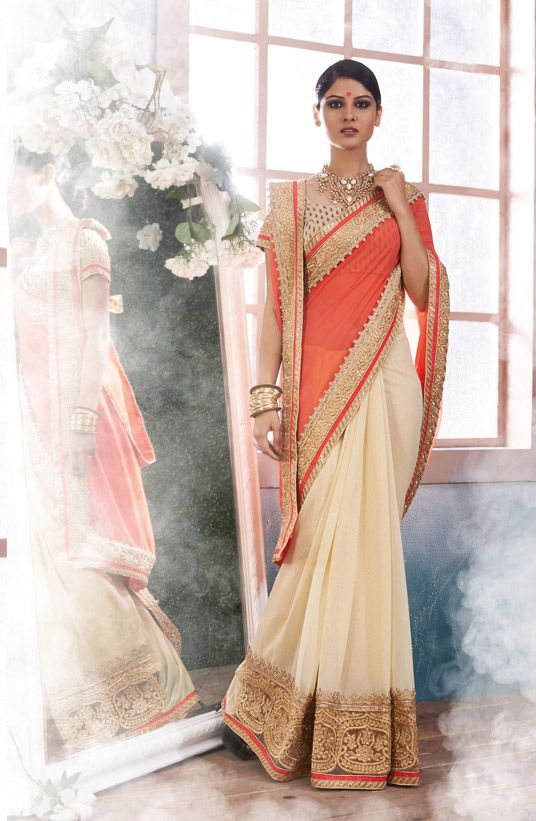 Orange Georgette Half and Half Saree With Blouse 66453