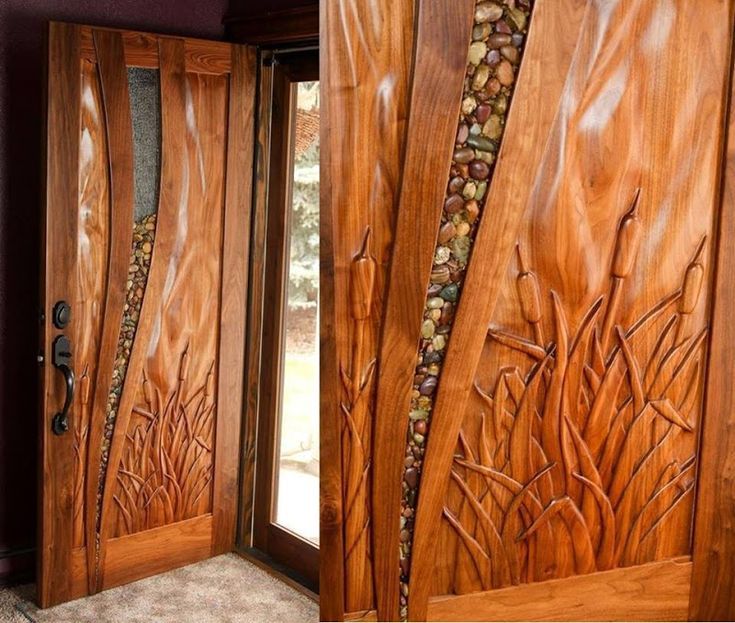Beautiful Carved Wooden Door With Inlaid Stones